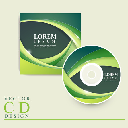 recordable media: abstract ecology design for CD cover in green