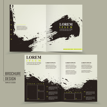 abstract Chinese calligraphy design for half-fold brochure template