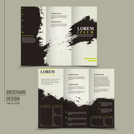 old writing: abstract Chinese calligraphy design for tri-fold brochure template Illustration