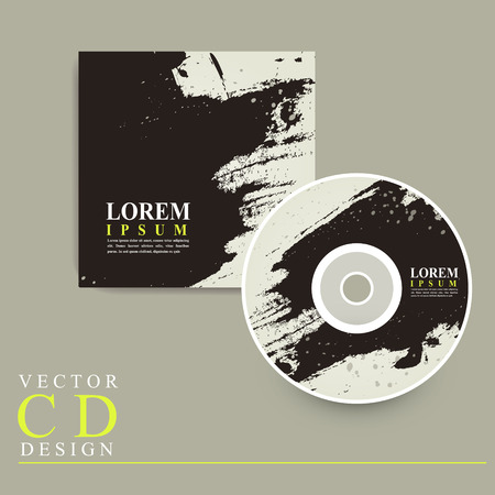recordable media: abstract Chinese calligraphy design for CD cover template