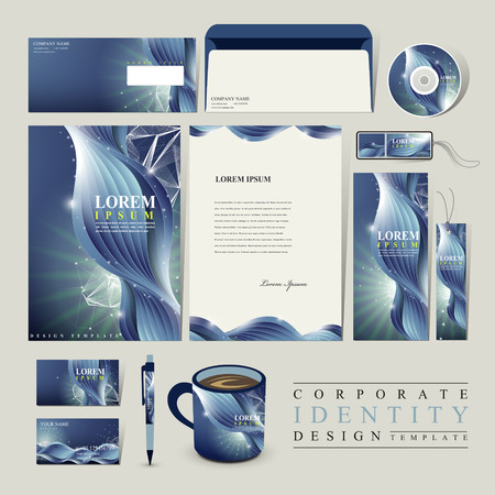 billow: abstract technology background for corporate identity set