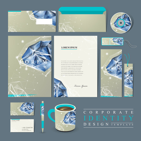 namecard: modern design for corporate identity set with diamond element