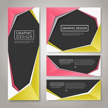 design layout: modern paper style design for banners set template Illustration