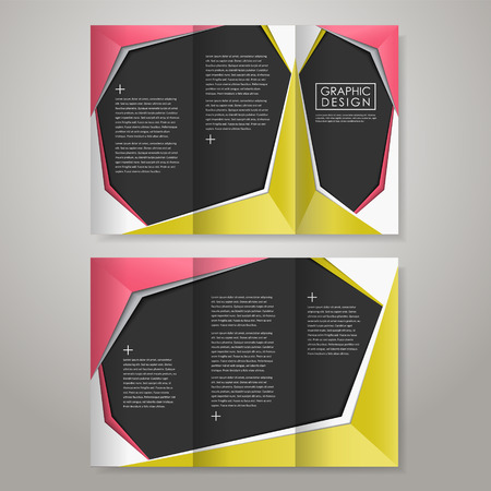 tri color: modern paper style design for tri-fold brochure template Illustration