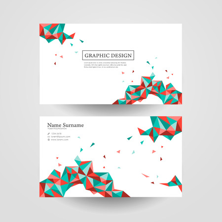 personal element: abstract geometric colorful triangles design for business card