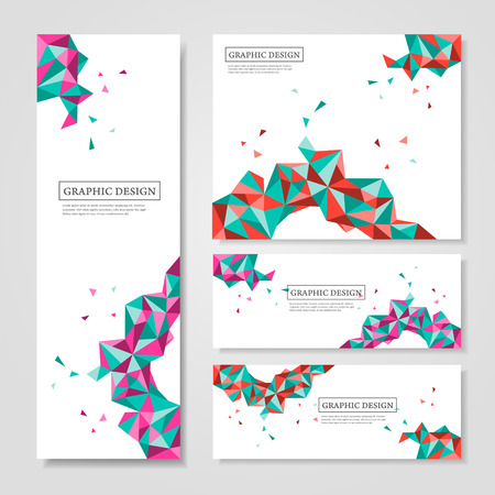 simple border: abstract geometric colorful triangles design for banners set Illustration