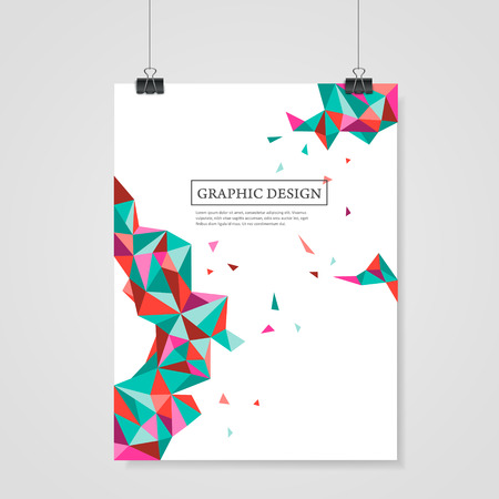 abstract geometric colorful triangles design for poster template Illustration