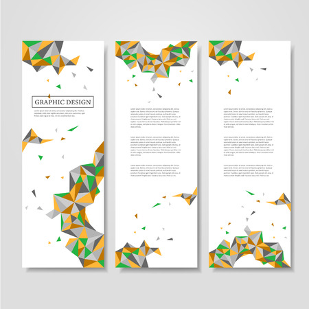 pattern corporate identity orange: abstract geometric colorful triangles design for banners set Illustration