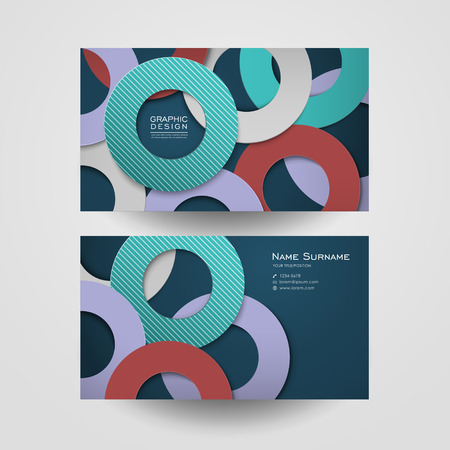 business card: colorful circle layout design for business card template