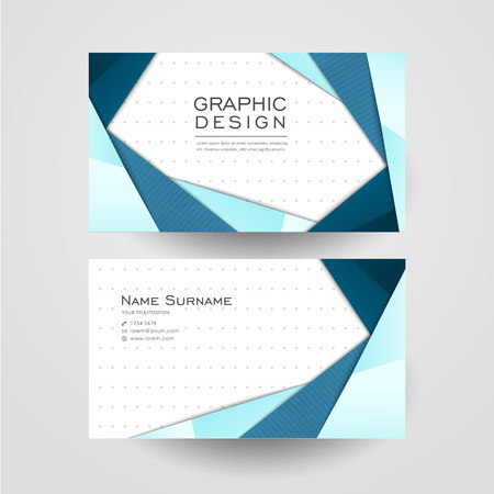 Modern Origami Style Design For Business Card In Blue Royalty Free