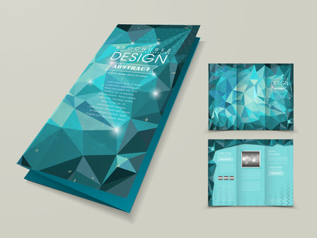 tri color: abstract polygonal background for tri-fold template in blue Illustration