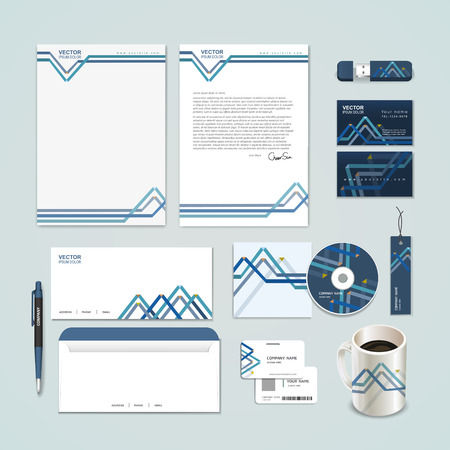 abstract paper folded pattern background for corporate identity set template