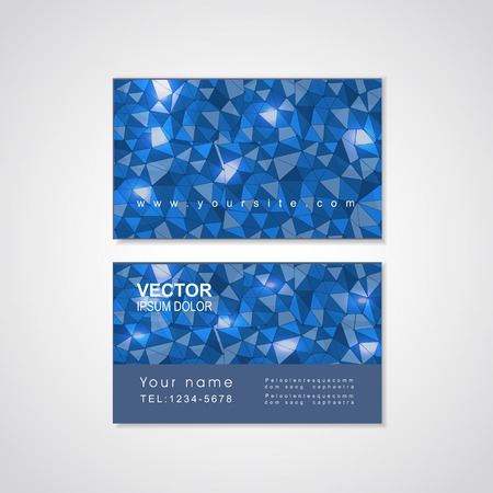 calling art: blue mosaic background design for business card template Illustration