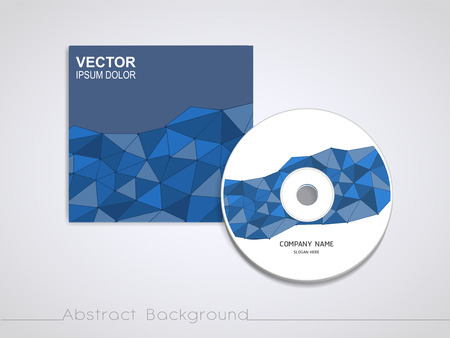 recordable media: blue mosaic background design for CD cover template Illustration