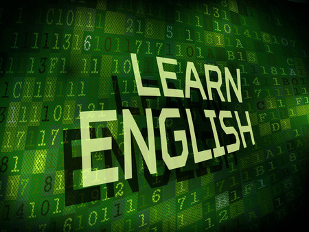 learn english: learn English words isolated on internet digital background
