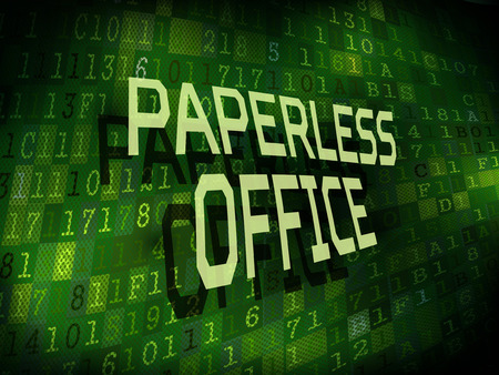paperless: paperless office words isolated on internet digital background