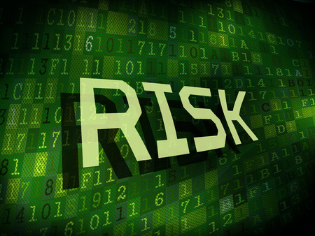 risk warning: risk word isolated on internet digital background Illustration