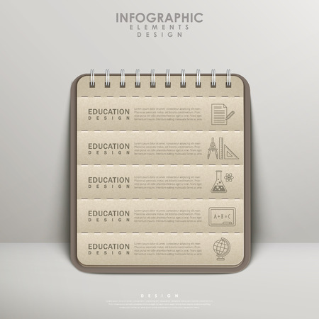 notebook: recycled paper notebook for education infographic element design Illustration