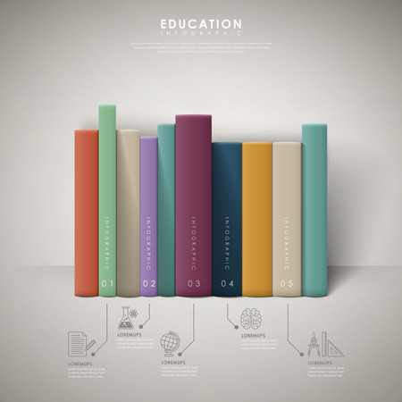diary book: education infographic design with colorful books element Illustration