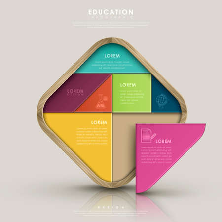 education infographic design with colorful tangram element