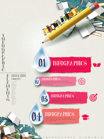 note book: pencil and books infographic elements brochure design
