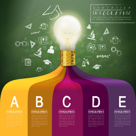 creative concept infographic with lighting bulb elements Vector