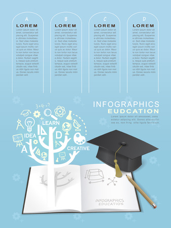 education infographic design elements with book and graduation cap elements Vector