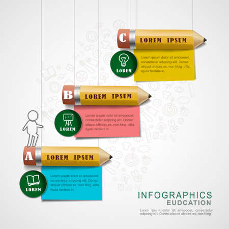 education infographic design elements with pencils and note papers