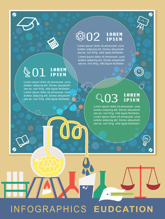 education infographic with experiment scene in flat design Vector