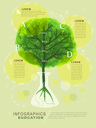 watercolor style education infographic with tree element Vector
