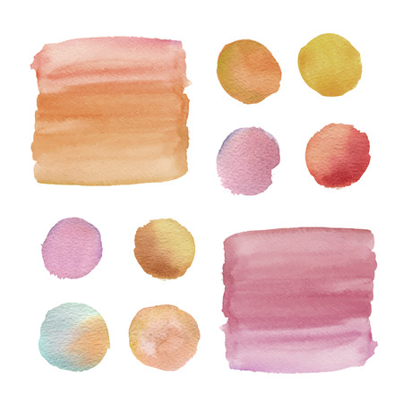 watercolor brushes isolated on white paper background 矢量图像