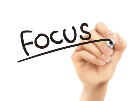centralize: focus word written by 3d hand over white background