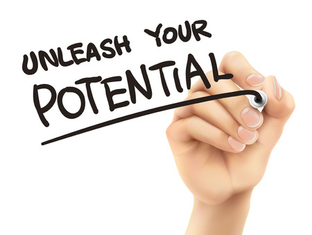 potential: unleash your potential words written by 3d hand over white background