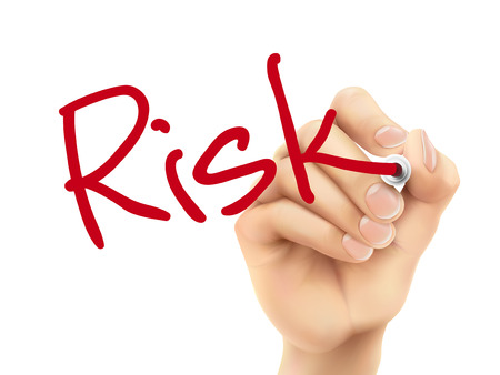 risk management: risk word written by 3d hand over white background Illustration