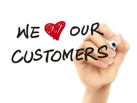 we houden van onze klanten woorden geschreven door 3d hand over witte achtergrond