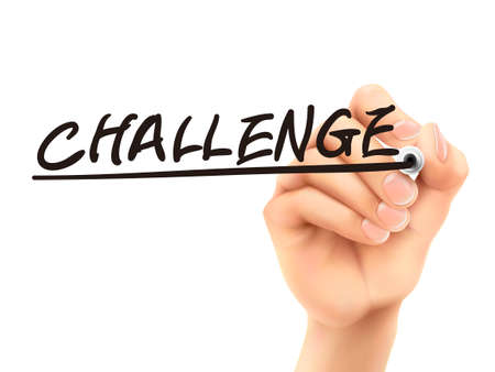 overcome a challenge: challenge word written by 3d hand over white background
