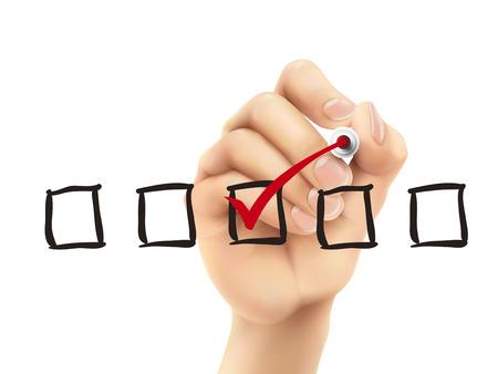 checklist: checklist checking by 3d hand over white background