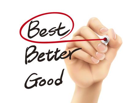 chosen: best word chosen by 3d hand over white background