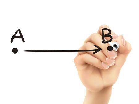 flechas: punto A al B dibujado por 3d mano sobre fondo blanco