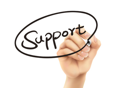 counseling: support word written by 3d hand over white background