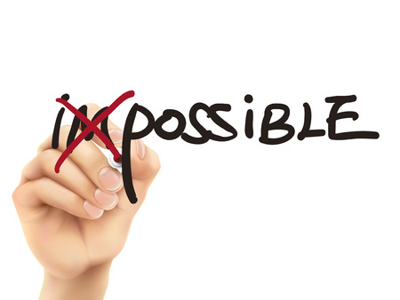 achievable: 3d hand turning the word impossible into possible over white background