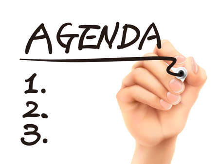 schedule system: agenda word written by 3d hand over white background