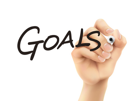 goals word written by 3d hand over white background