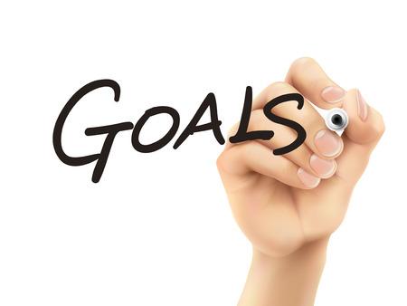 prioridades: metas palabra escrita por 3d mano sobre fondo blanco