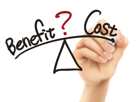 benefits: balance between benefit and cost written by 3d hand over white background