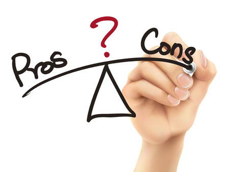 cons: balance between pros and cons written by 3d hand over white background Illustration
