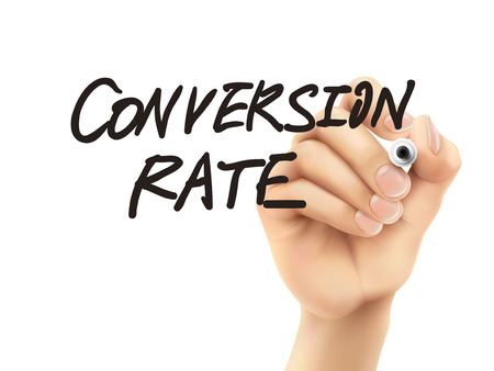 conversion: conversion rate words written by 3d hand over white background Illustration