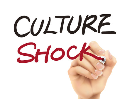 culture shock words written by 3d hand over white background