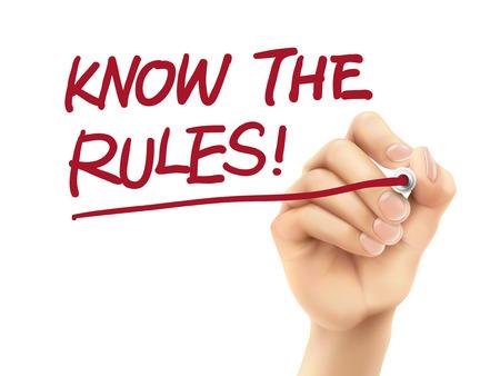conocer las reglas de las palabras escritas por 3d mano sobre fondo blanco