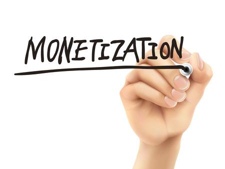 monetizing: monetization word written by 3d hand over white background
